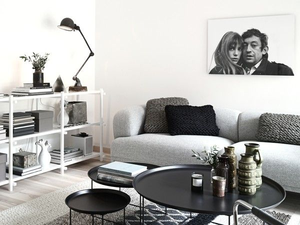 shades of grey in the living room