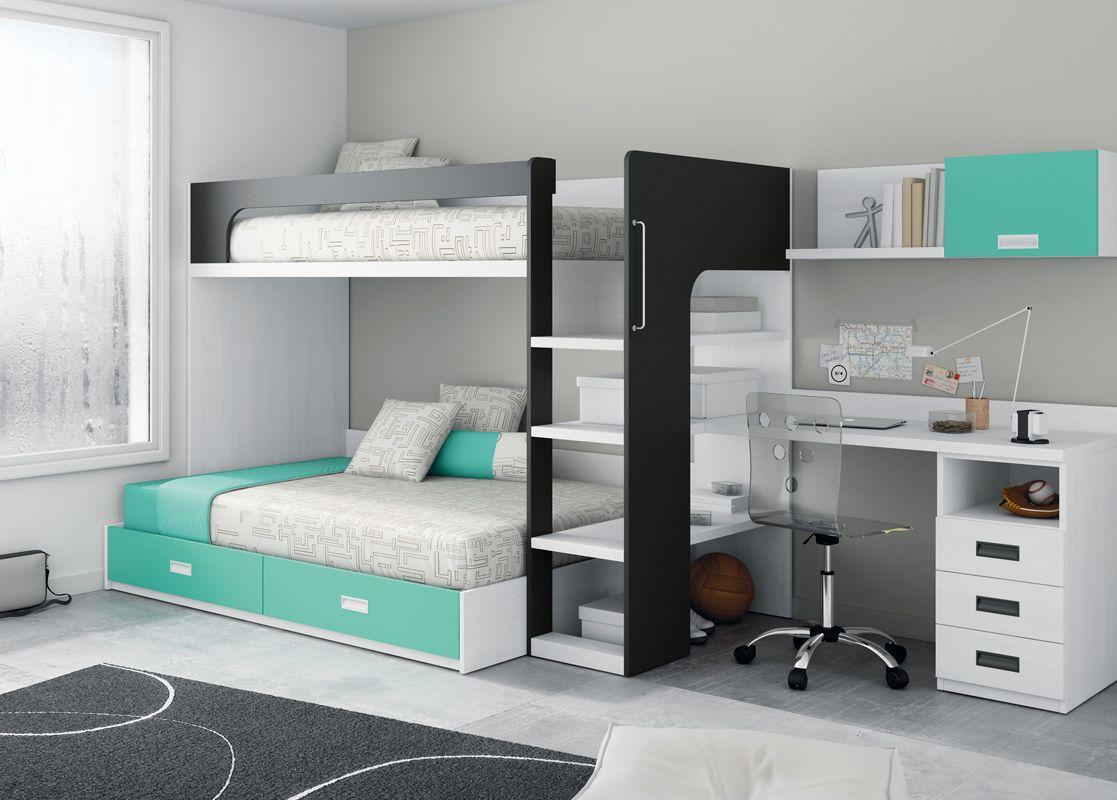 Litera con escalera y escritorio para dormitorios - Dormitorio pequeno juvenil ...