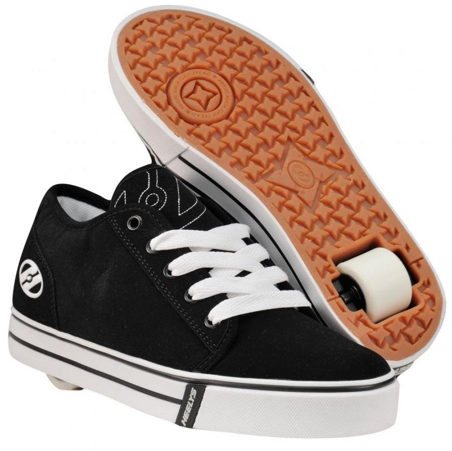 Heelys Edge Boys Shoes - Black White Skating Shoes Roller Skates