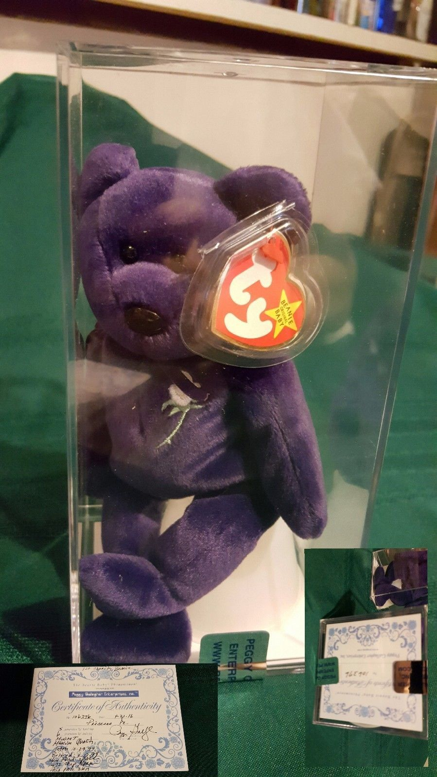 Authenticated Princess Diana Ty Beanie Baby PE sealed case