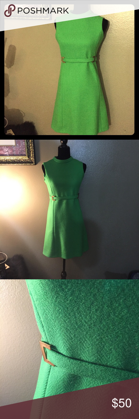 60s green dress  Vintage s Green Mod Jane Justin Mini Dress Sz S  Pinterest  Mini