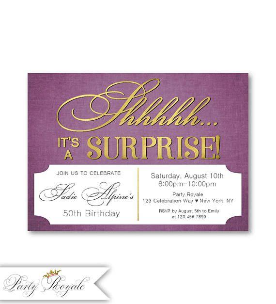 Birthday invitations for women 50th surprise birthday plum birthday invitations for women 50th surprise birthday plum filmwisefo