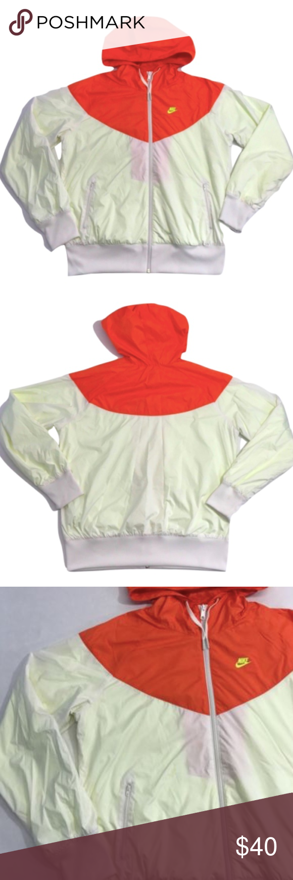 14457eec9047 Nike Windrunner Jacket White Orange Neon Nike Womens Windrunner Jacket XL  White Orange Neon Windbreaker Hoodie