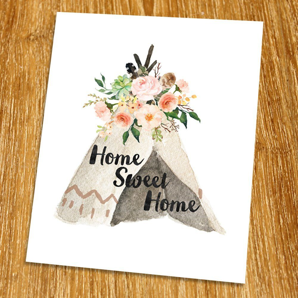 Home Sweet Home Print (Unframed), Entrance Wall Decor, Watercolor Arrow,  Hotel Decor, Tribal Art, Living Room Wall Art, Boho Print, 8x10 Part 55