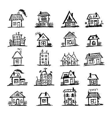 Sketch Of Art Houses For Your Design Vector 957453 By Kudryashka