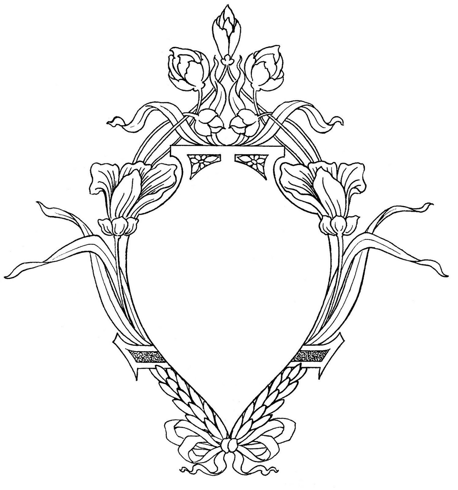 Art deco ornaments -  The Graphics Fairy Llc Request Day Sunflowers Seahorse Art Nouveau