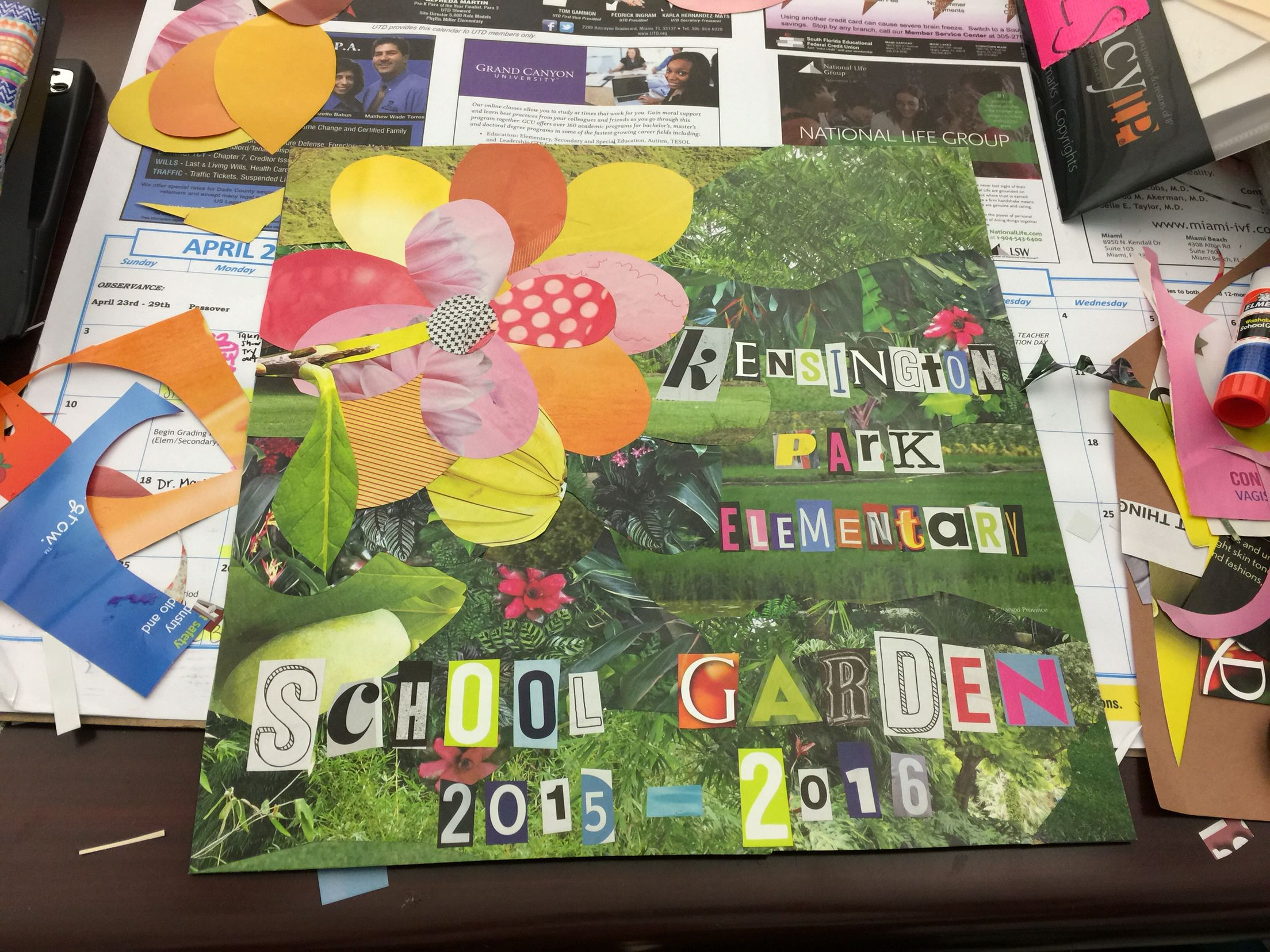 How to scrapbook magazines - Fairchild Challenge School Garden Scrapbook Cover Made With Magazine Collage