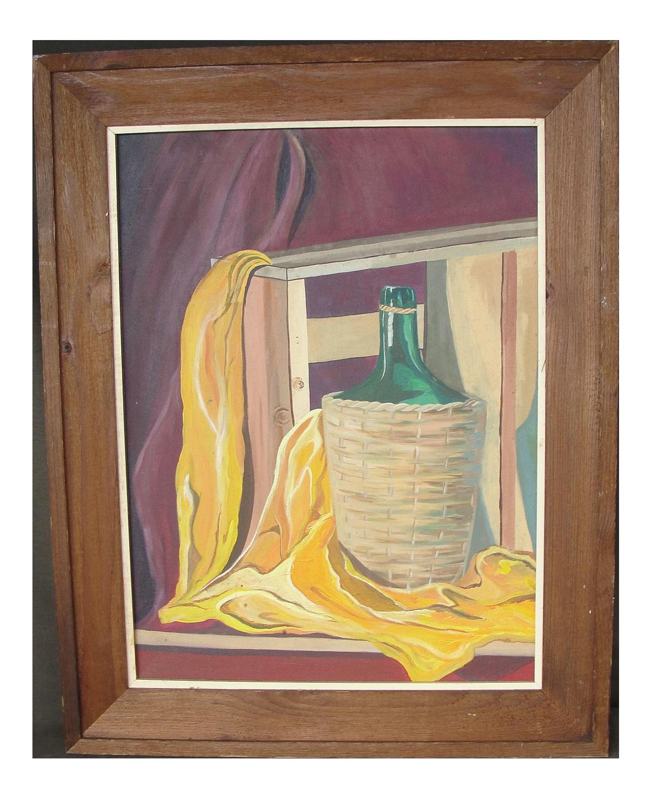 Vintage Purple Still Life Oil On Canvas Painting On Chairishcom