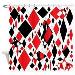 Distorted Diamonds in Black & Red Shower Curtain
