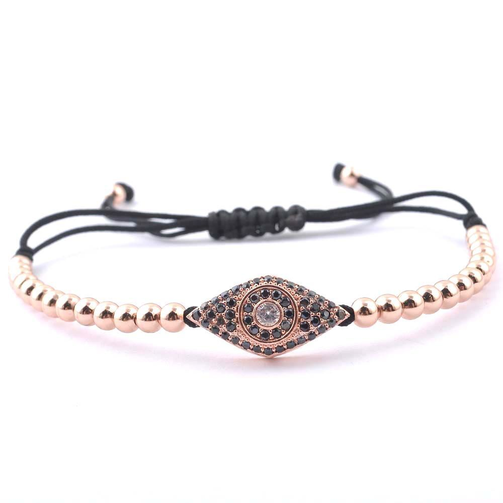 Romeda charm bracelet evil eye anil arjandas pumpied eye rose gold