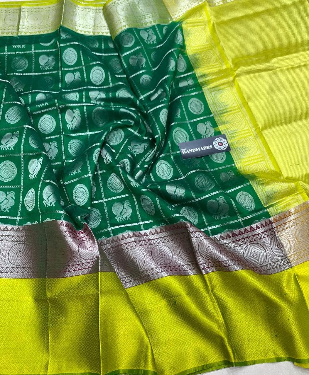 40f9b3a0e1168  Designer  Kuppadam  Silk  Sarees with  Silver  gold  Jari Borders   Buttas    Contrast Rich  Pallu   Contrast Plain  Blouse Mhm   Rs.…