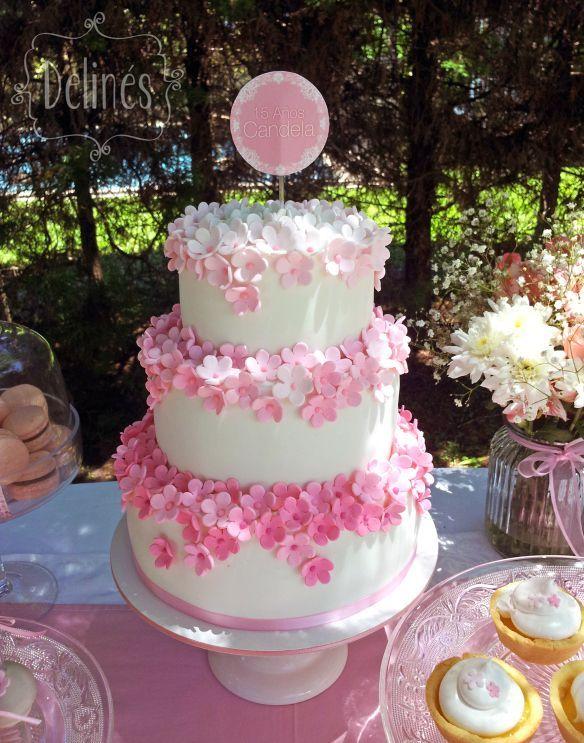 Flores Pastel Xv Decoracion Pasteles Tortas De 15 Años