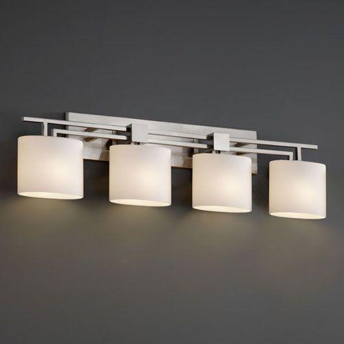Justice Design Group Fusion Aero Four Light Brushed Nickel Bath Fixture Fsn 8704 30 Opal Nckl Bellacor In 2021 Modern Bathroom Light Fixtures Modern Bathroom Lighting Bathroom Lights Over Mirror Justice design group lighting