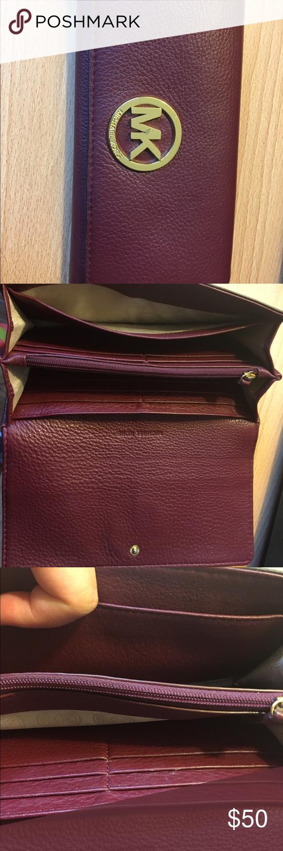 MK wallet Real , wine color Michael Kors Bags Wallets