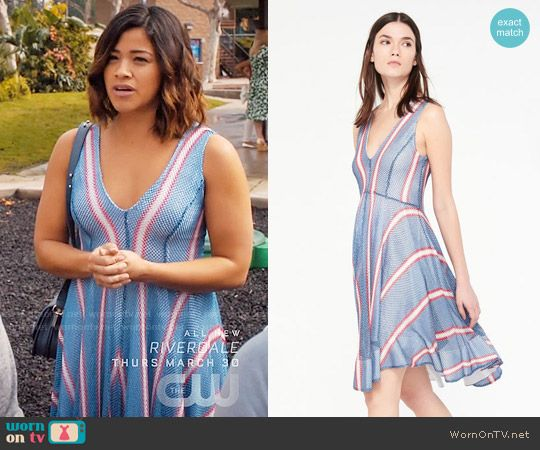 5e35c3a2f6 Jane s blue dress with red and white stripes on Jane the Virgin ...