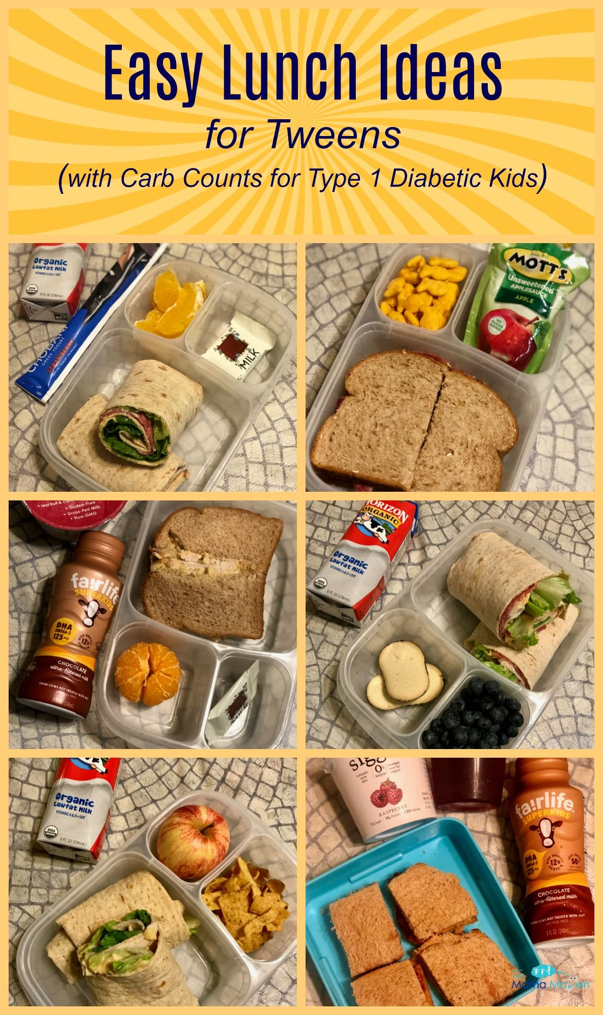 Easy Lunch Ideas for Tweens (with Carb Counts for Type 1 Diabetic Kids)