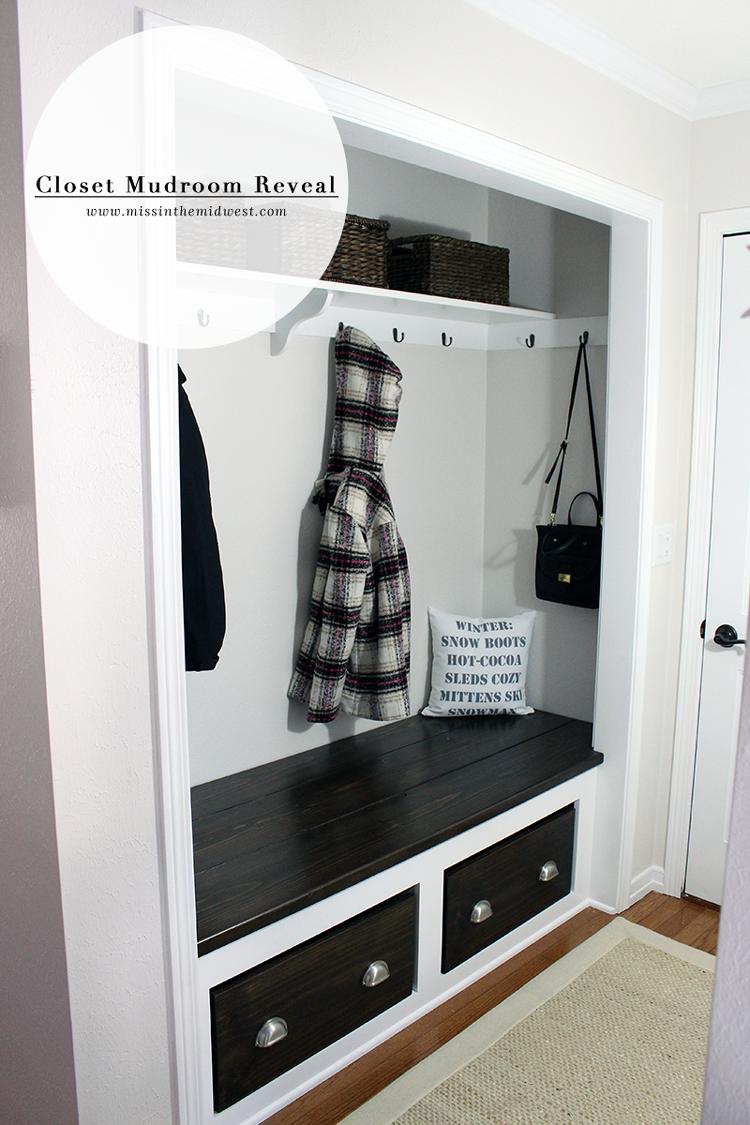 Hallway coat closet  Closet Mudroom Reveal  Mudroom Bench and Traditional