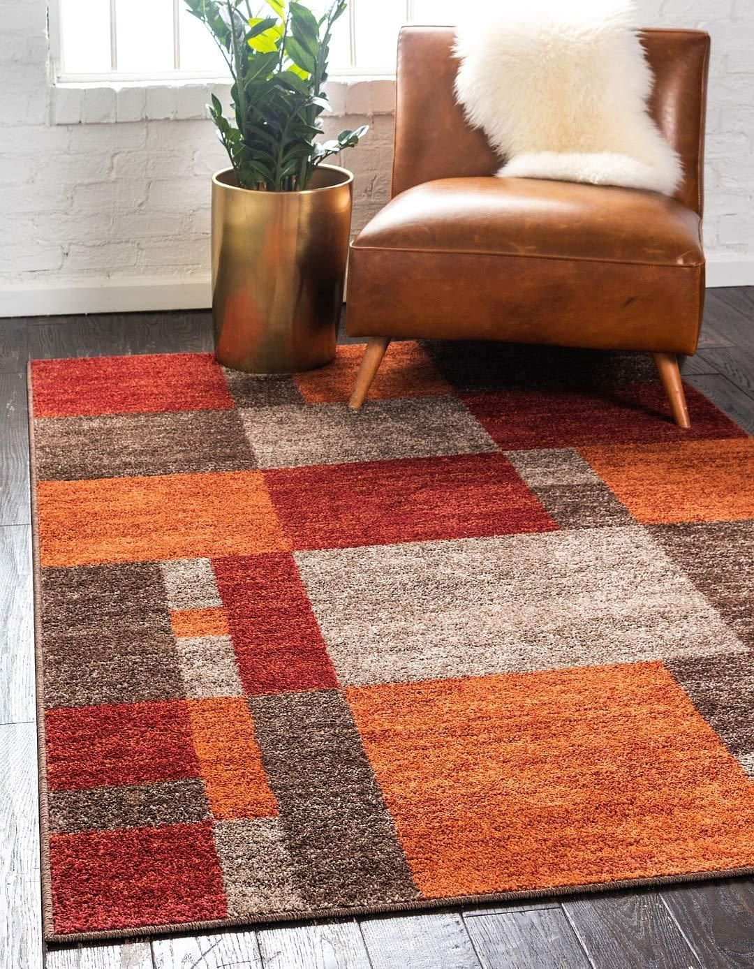 Warm Toned Checkered Multi Color Brown Orange Area Rugs Unique Loom Orange Area Rug Area Rugs