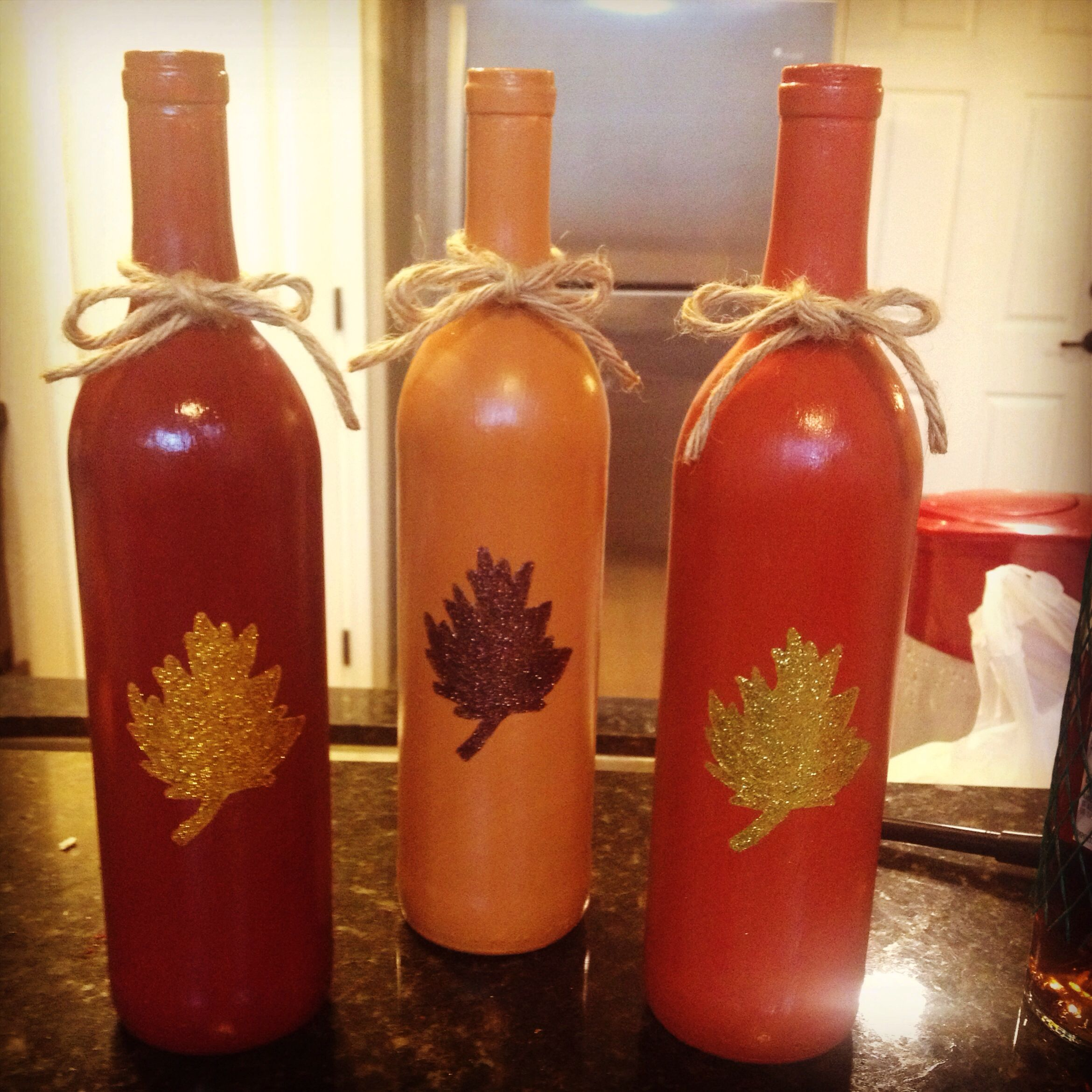 Fall Decorating With Wine Bottles Bottles Decoration Fall Wine Bottles Painted Wine Bottles