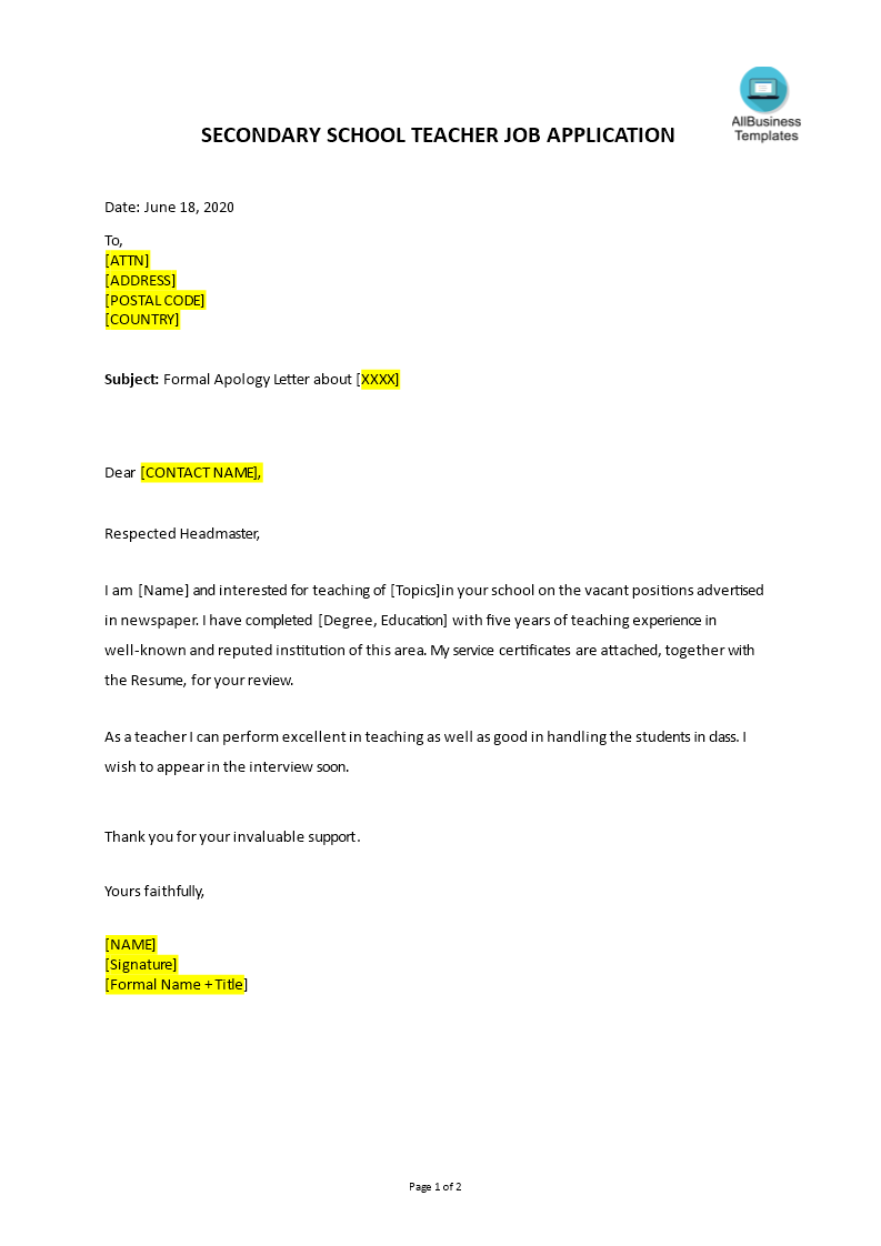 How To Create A Job Application Letter For Secondary School Teacher Download This Job App Application Letter For Teacher Jobs For Teachers Application Letters