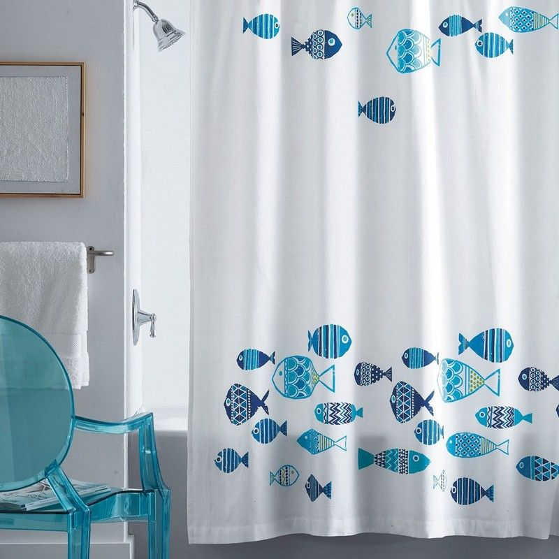 Cotton Shower Curtain Printed With A Textured Design Featuring A
