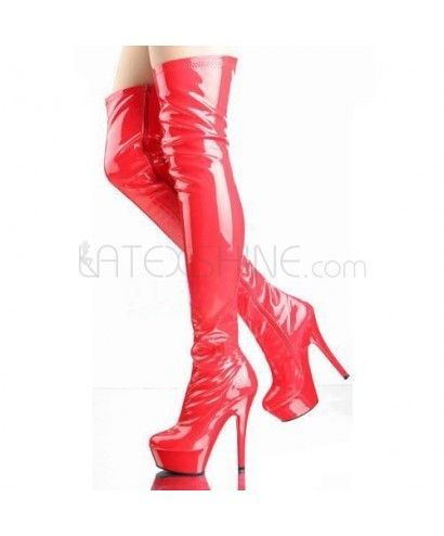 above knees side zipper pleather glossy s boots