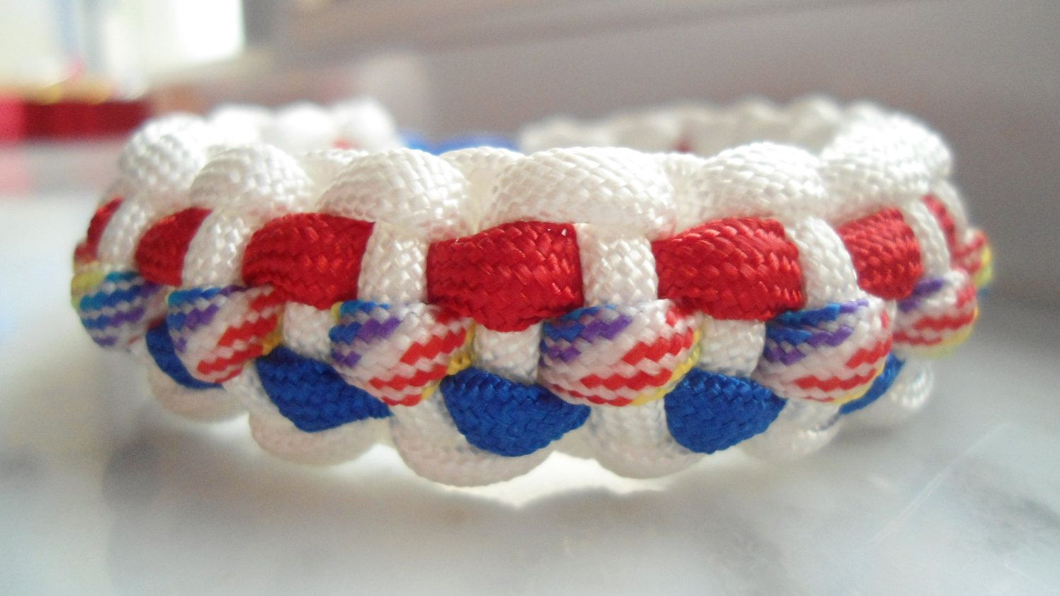 4th of July Handmade Red, White, and Blue 550 Paracord Cobra Weave Bracelet by TagpagBracelets on Etsy