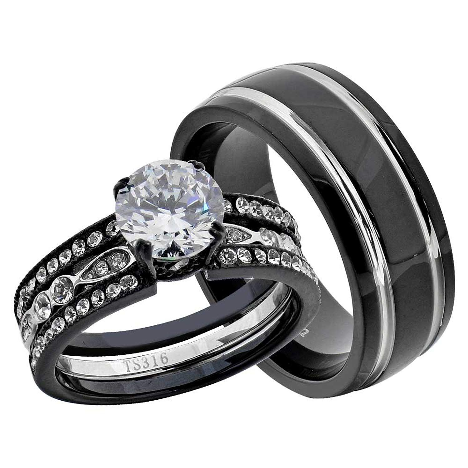 Flamereflection Stainless Steel Black Round Cubic Zirconia His Hers Wedding Ring Sets Stainless Ste Black Wedding Rings Wedding Ring Trio Sets Bridal Ring Sets
