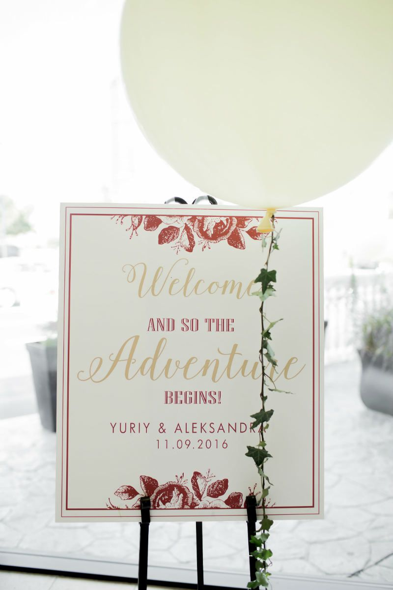 Red and gold welcome sign for a whimsical wedding! www ...