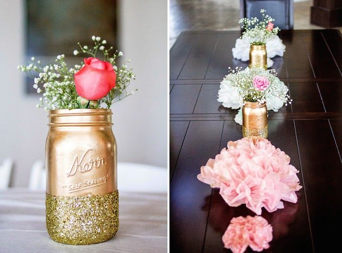 Pink glitter gold baby shower via kara 39 s party ideas for Baby shower tree decoration