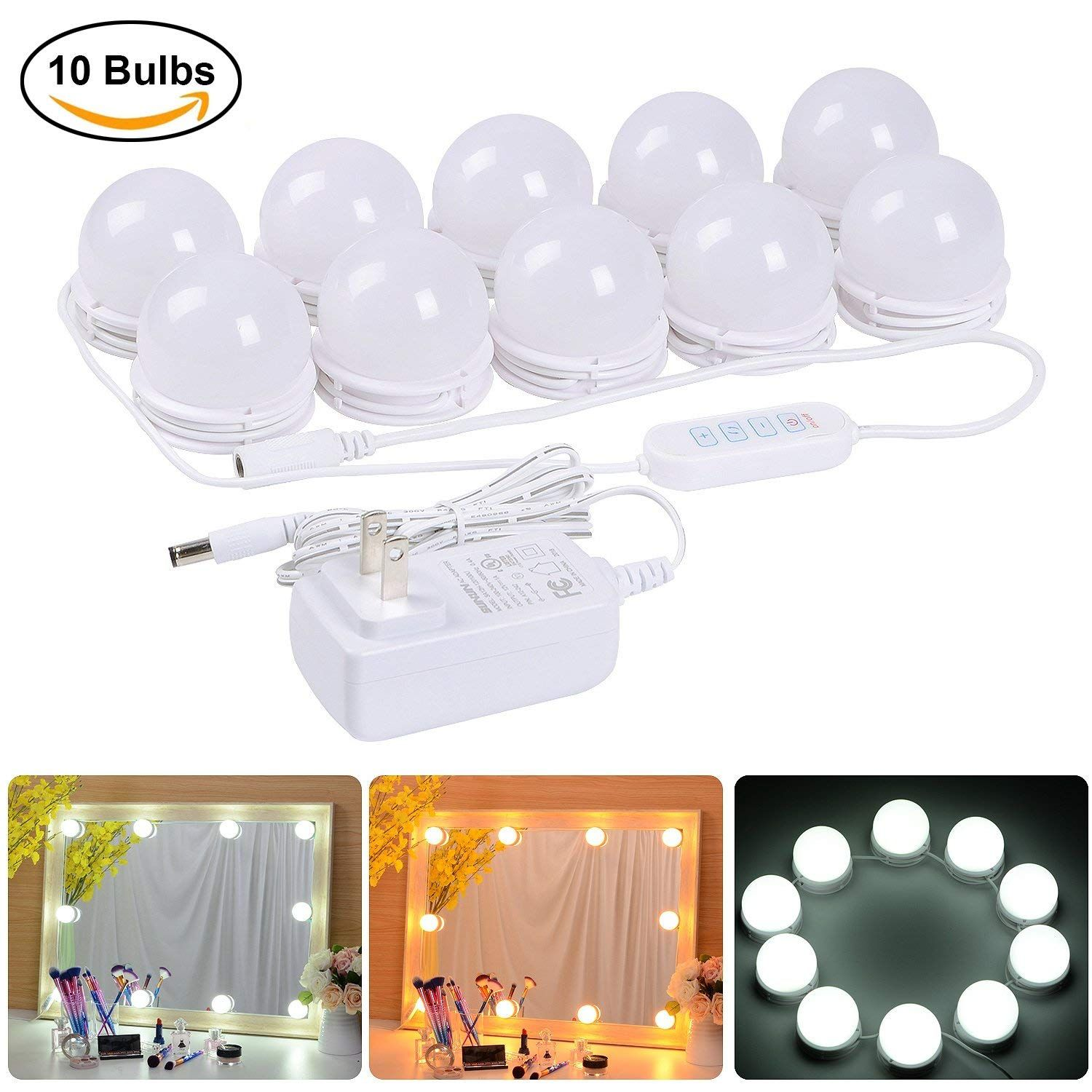 Coolmade Hollywood Style LED Vanity Mirror Lights Kit with 10 Dimmable Light Bulbs, 2 Color Lighting Modes Lighting Fixture Strip for Makeup Vanity Table Set in Dressing Room (Mirror Not Include) - Walmart.com