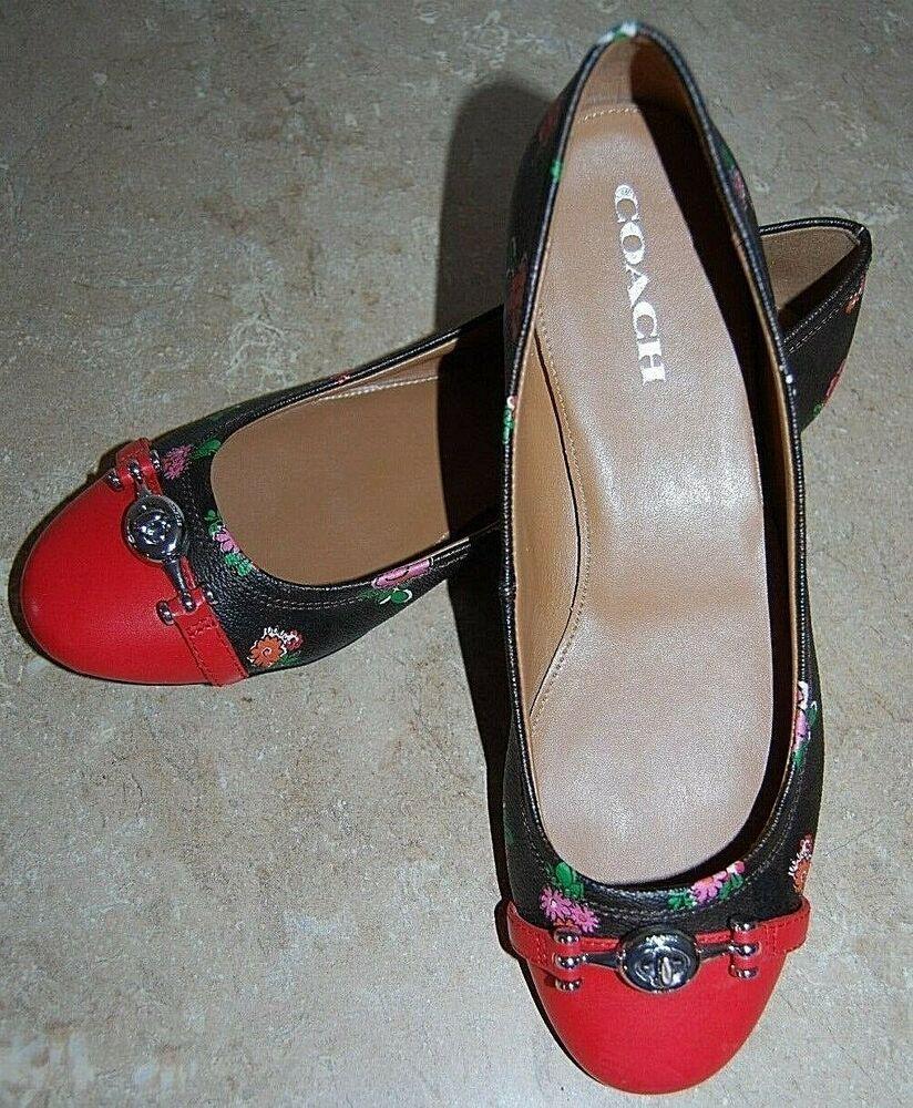 b601757a2a2 Coach Leila Q9085 Floral Designer Mahogany Pink Flat Shoes size 9.5 US   Coach  flats