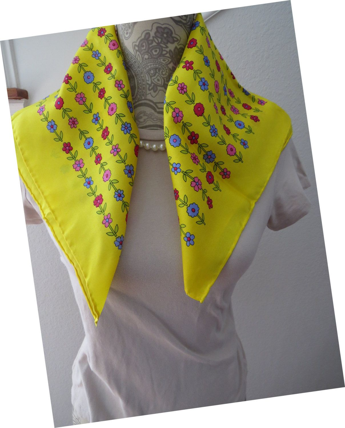 Vintage Yellow Scarf By Glentex Pink Blue Red Flowers