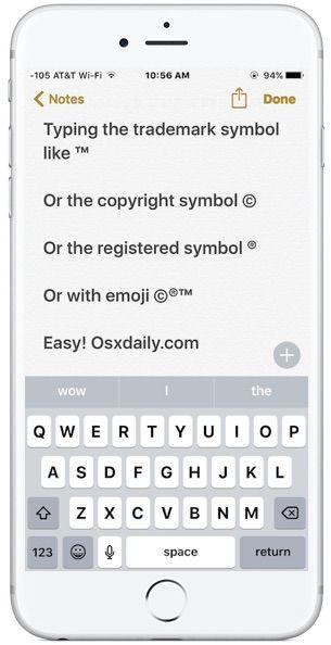 Type Trademark Copyright Symbols Iphone Ios Pinterest