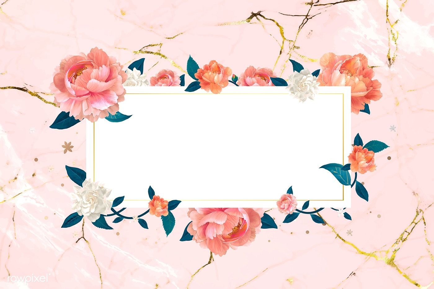Download Premium Vector Of Blank White Floral Card Template Vector 680070 Floral Cards Floral Banners Flower Frame
