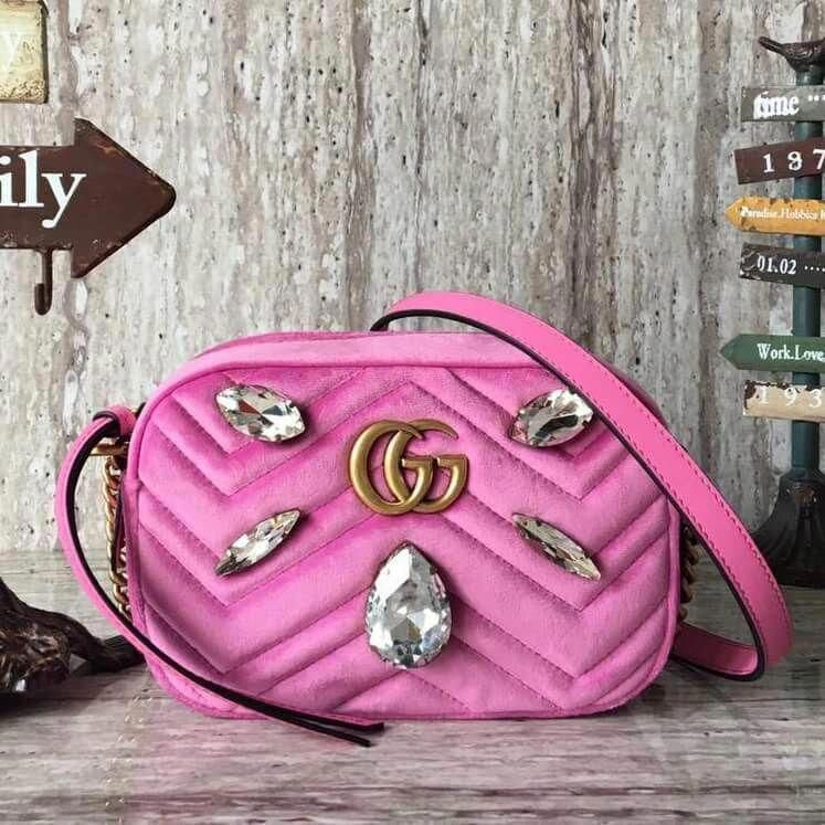 1f278ac49239 Gucci Velvet GG Marmont Small Camera Shoulder Bag With Crystals 447632 Pink  2018 #Guccihandbags