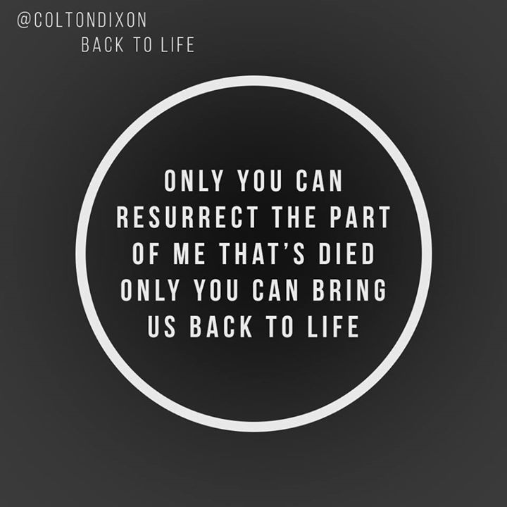 """""""Back To Life"""" by Colton Dixon"""