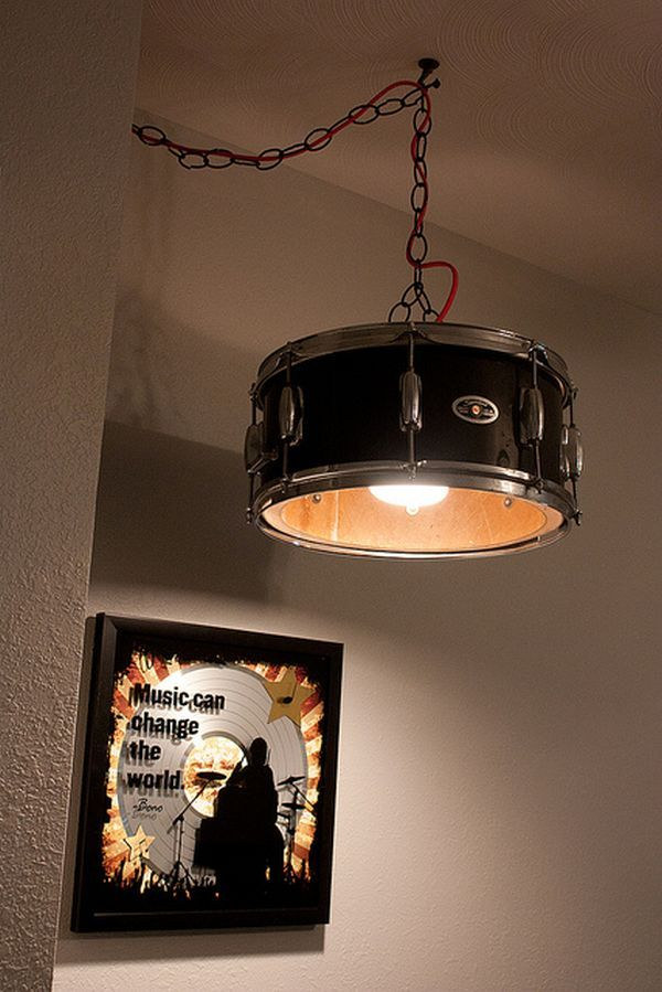 Man cave ideas decoration drums and drum lamp shades musically inspired furniture and decorations for your home drum lighting snare drum drum kit interior music design decor mozeypictures Images