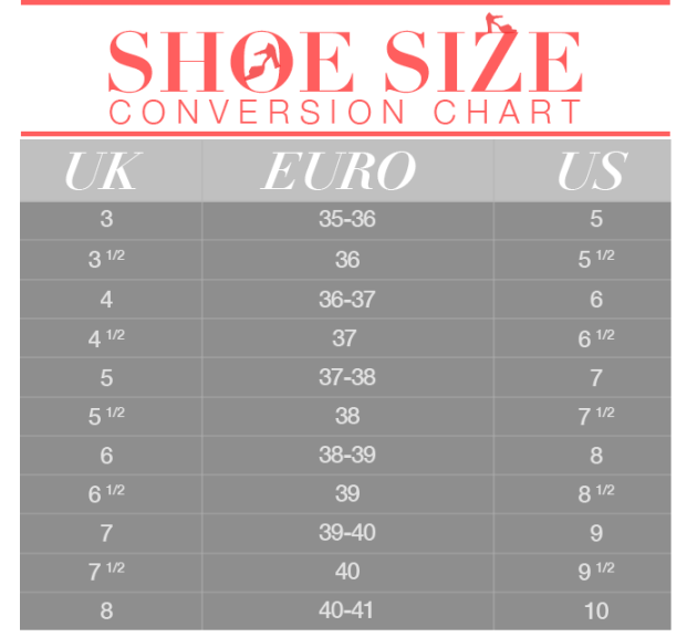 Shoe Size Conversion 101 Save This Chart And Never Order The Wrong Pair Again Shoe Size Conversion Shoe Size Fashion