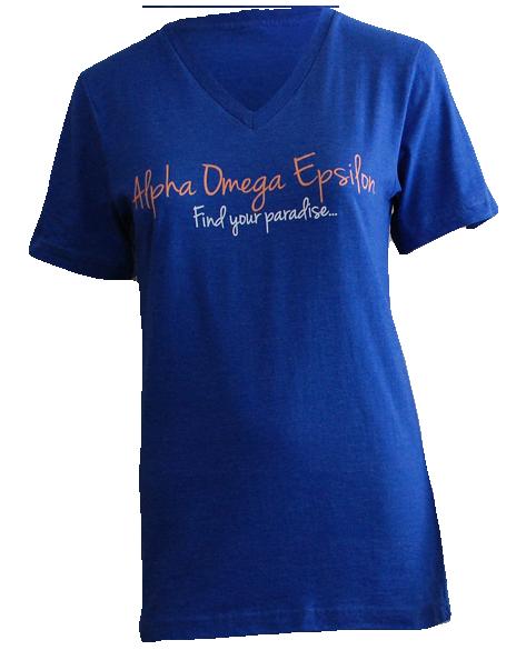 Alpha Omega Epsilon Paradise V-Neck by Adam Block Design | Custom Greek Apparel & Sorority Clothes | www.adamblockdesign.com