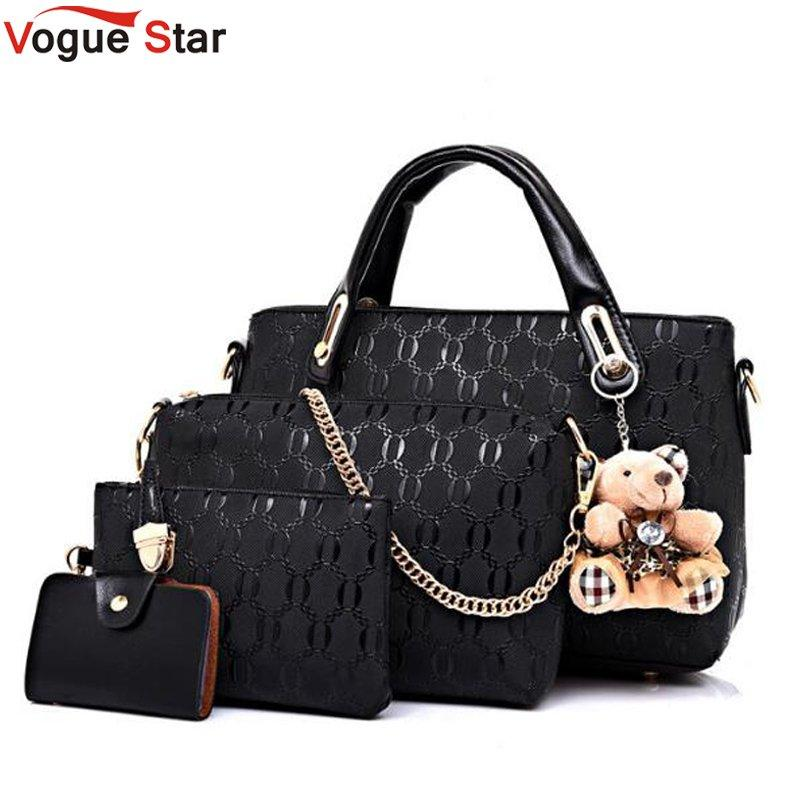 Vogue Star Women Bag Top Handle Bags Female Famous Brand 2018 Messenger Handbag Set Pu Leather Composite Lb464