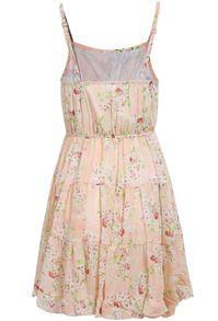 Pink Spaghetti Strap Floral Pleated Dress - Sheinside.com