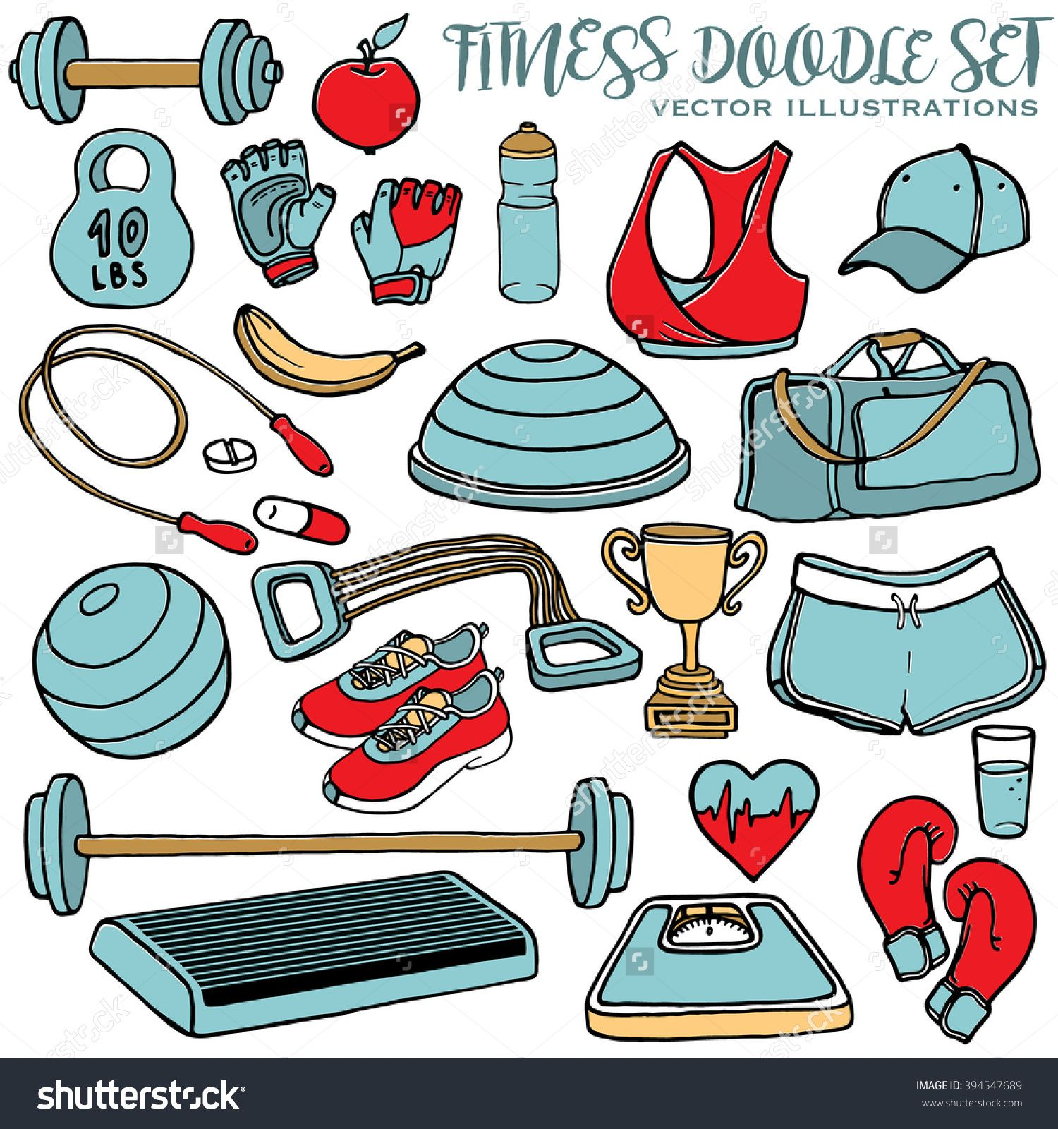 Hand Drawn Fitness Doodle Set. Sport Clothes, Dumbbell