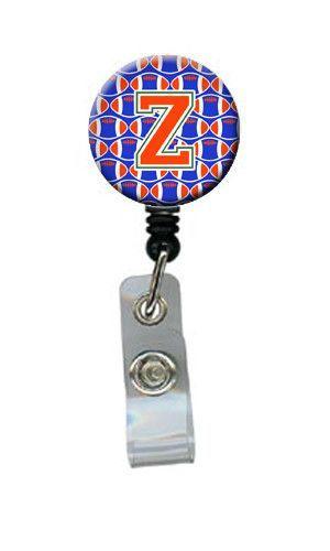 Letter Z Football Green, Blue and Orange Retractable Badge Reel CJ1083-ZBR