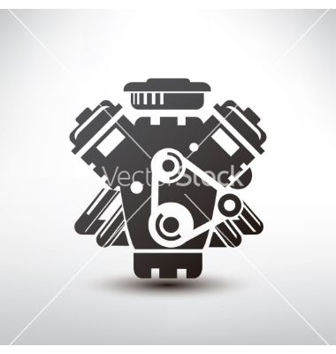 Car Engine Symbol Stylized Silhouette Of Vector Drawing