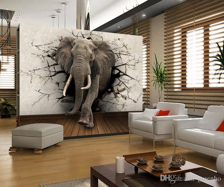 Custom 3D Elephant Wall Mural Personalized Giant Photo Wallpaper ...