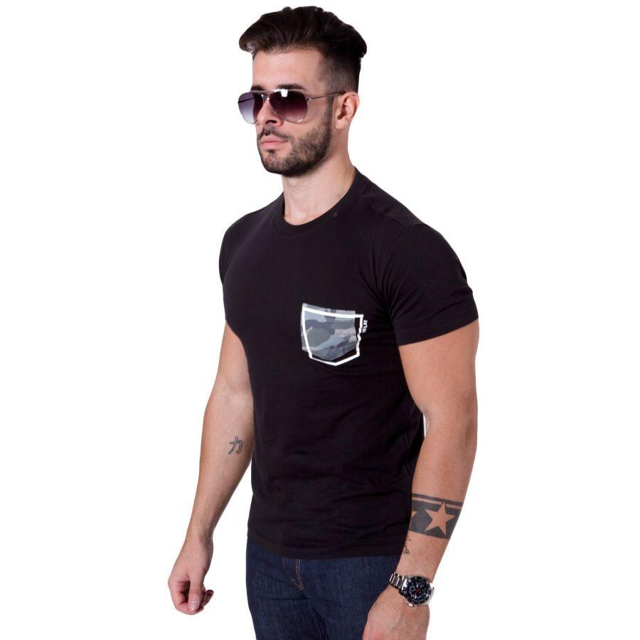0c7383a71c6 REPLAY Μαύρο slim fit μπλουζάκι, τυπωμένο λογότυπο, M3478 ...
