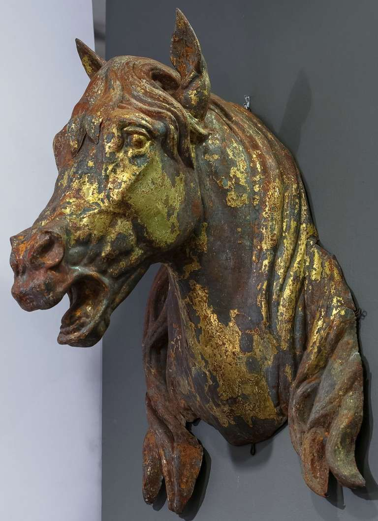 Large French Horse Head Or Bust Of Zinc Modern