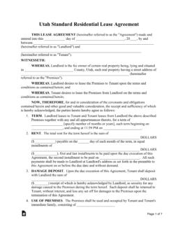 Free Utah Standard Residential Lease Agreement Template