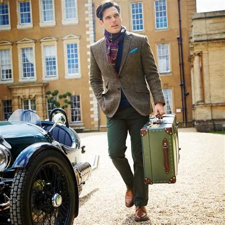 Olive windowpane Harris tweed classic fit jacket | Men's sport coats & blazers from Charles Tyrwhitt